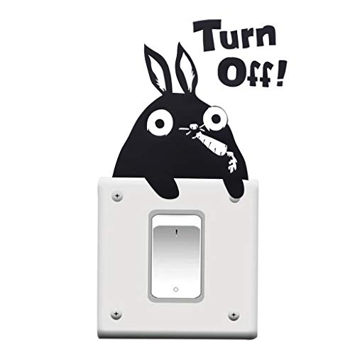 Eve.Ruan 10 Pcs Cute Cartoon Rabbits Eating Radish Light Switch Outlets Vinyl Decal Sticker Decor in Wall, Windows and Doors for Home Nursery Kids Babies Bedrooms (Black)