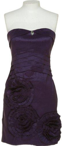 ROMEO & JULIET COUTURE Sleeveless Dress W/ Large Rosettes [RJDY21681], EGGPLT, MED