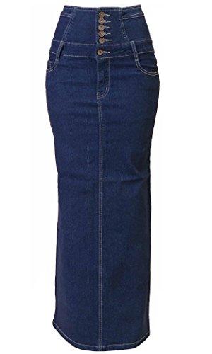 Fashion2Love N925A-SK-LONG - Women's Juniors High Waist Long Pencil Skirt In Blue Size 3XL