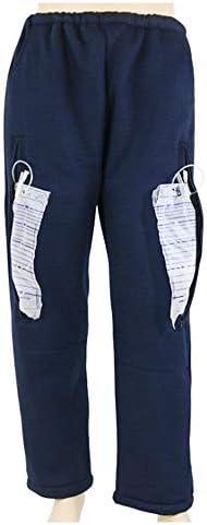 ダブルポケット付き失禁ケアパンツ、寝たきりの高齢者のための尿道カテーテル看護外出パンツ,Darkblue,XL