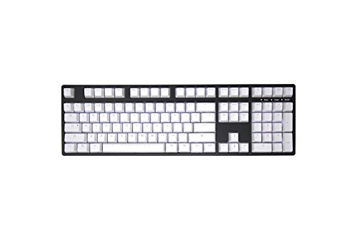 IKBC PBT Backlit Doubleshot Mechancial Keyboard Keycap Set for Mechanical Keyboard with Cherry MX Switch, White Color, 108 Keys ()