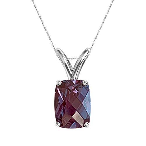 1.62-1.98 Cts of 8x6 mm AAA Elongated Cushion Checkered Lab Created Russian Alexandrite Solitaire Pendant in 14K White Gold
