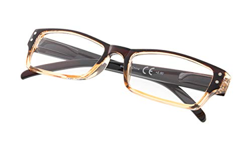 READING GLASSES Spring Hinge Comfort Readers Men and Women Glasses for Reading Brown Frame +2.0