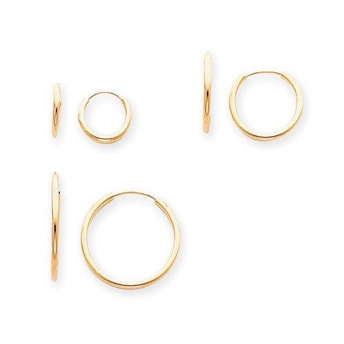 14k Yellow Gold Childs Polished 3-Pair Set Endless Hoop Earrings w//Gift Box 0.7IN Long