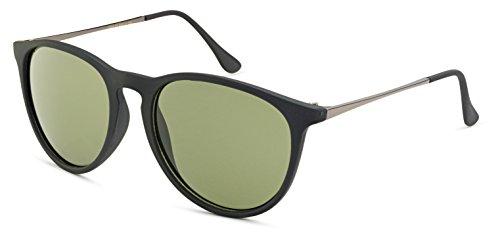Stylle Womens Round Sunglasses - Matte Black Frame with Green - Popular Sunglasses Womens