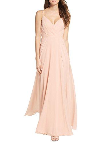 Sherry Bridal Women's Long Spaghetti Straps Prom Dress Chiffon Bridesmaid Dresses SH95 Champagne CS