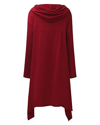Vestito Casual StyleDome Donna Maglia Lunga Lunga Manica Cappuccio Asimmetrico Bordeaux con Con Tasca Elegante ttvBg6qw