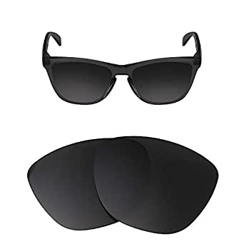 HEYDEFOAU Polarized Replacement Lenses for Oakley Frogskins Sunglasses-Multi Options with Lens Cloth (Black-Polarized, Oakley Frogskins Lens Width)