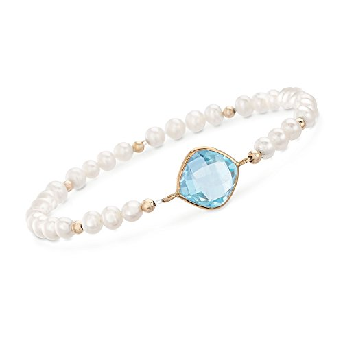 Ross-Simons 4.60 Carat Blue Topaz and 4-5mm Cultured Pearl Bracelet in 14kt Yellow Gold