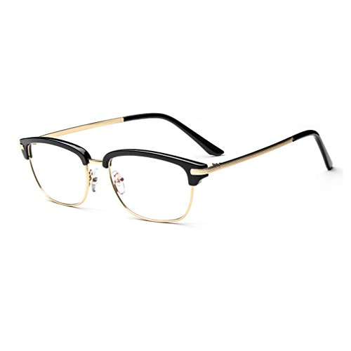 LOMOL Girls Retro Personality Radiation Protection Transparent Lens Metal Semi-rimless Frame (Where Can I Buy Cat Eye Contacts)