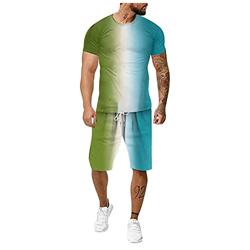 Mannen Casual Outfit Atletische SweatsuitsT Shirts en Jogger Broek Sport 3D Gradiënt Kleur Running 2 Stuk Pak