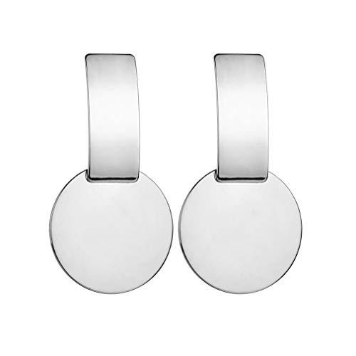 SOURBAN Vintage Creative Strip Round Metal Stub Earrings Fashion Jewelry for Women,Silver ()