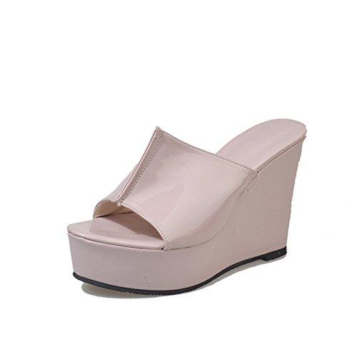 Dony palabra de zapatillas en la primavera, el color puro pendiente y tacón alto Thirty-eight