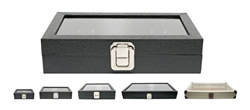 Novel Box Medium Glass Top Black Leatherette Metal Clasp Jewelry Display Case 8.1X4.75X2
