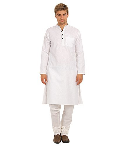 Royal Kurta Men's Summer Wear Fine Cotton Blended Straight Kurta 44 White