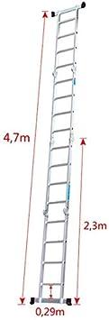 360 cm Gesamtl/änge Vielzweckleiter mit 2 Ger/üstplatten Aufun Alu Multifunktionsleiter 6 in 1 Leiterger/üst 4 x 3 Sprossen Leiter Klappleiter Verstellbar Mehrzweckleiter belastbar bis 150 kg