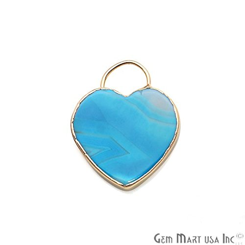GemMartUSA Light Blue Agate Pendant, Heart Shape Necklace Pendant, Gold Connector, Bracelet Charm, Jewelry Making Supplies, -