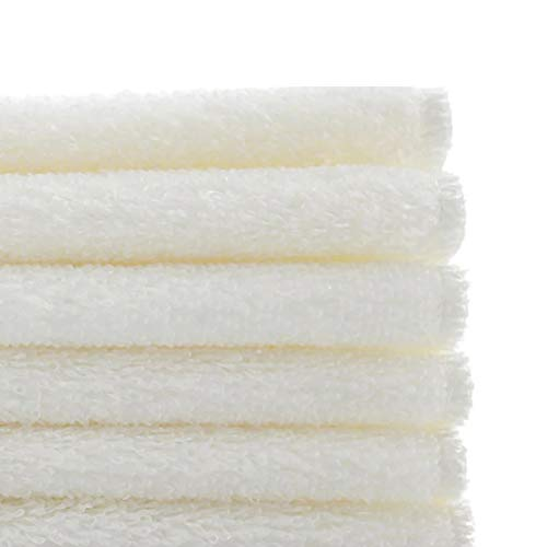Bamboo Fiber Dish Towels, Super Absorbent Anti-Oil Dishcloths by WEREACH, Easy Cleaned Antibacterial Kitchen Rags (9 x 7 Inch, White, 6 Pack)
