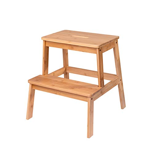 SPEED CARE The Living Store Premium Bamboo Two Step Stool Child Bench Working Chair Outdoor/Indoor use