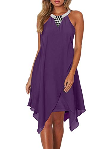 Dokotoo Womens Fashion Ladies Summer Overlay Embellished Halter Neck Chiffon Solid Sleeveless Ruffle Casual Flowy Mini Dress Purple Small