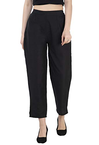 Lagi Women Plazo Plazzo Bottom Wear Ethnic Palazzo Pants Trousers with Kurti Kurtis Kurta S, Black ()