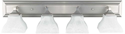 Sunset Lighting F3644-80 Vanity with Faux Alabaster Glass, Bright Satin Nickel - Alabaster Faux
