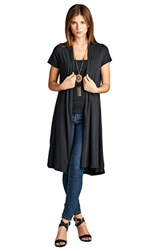 ReneeC. Women's Lightweight Open Front Classic Short Office Cardigan - Made in USA (Medium, Black) (Cardigan Sleeve Short Long)