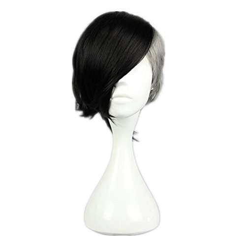 Kadiya Black Grey Anime Short High Quality Unisex Syntehtic Cosplay Wig