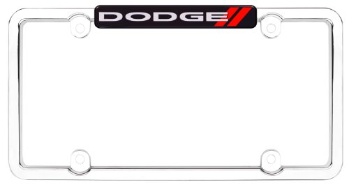 (Cruiser Accessories 11036 Dodge License Plate Frame, Chrome/Red)