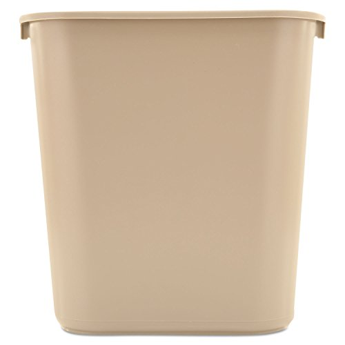 Rubbermaid Commercial 295600BG Deskside Plastic Wastebasket Rectangular 7 gal Beige