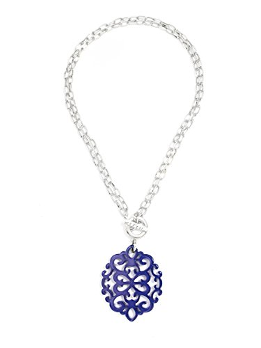 (ZENZII Modern Damask Acrylic Resin Pendant Necklace with Convertible Toggle Chain (Silver Navy))