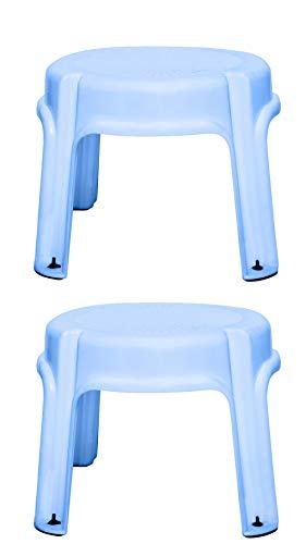 Multi Purpose Plastic Round Stool (4 Legs) – Blue, Buy 1 Get 1 Free (Blue) (30*30*26 cms)