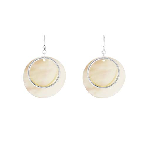 - National Creative Fashion Personality Woman Gift Holiday Style Gold Silver Round Mother Pearl Shell Earrings earings Dangler Eardrop Earrings Women Girls Ear Hook