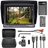 Neewer F100 Camera Field Monitor Kit:7 inches Ultra HD 1280×800 IPS Screen Field Monitor+F550 Replacement Battery+Micro USB Battery Charger+Carrying Case for Sony Canon Nikon Olympus Pentax Panasonic