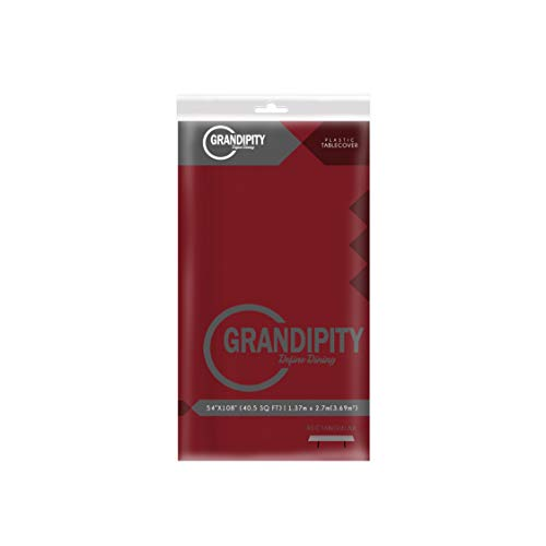 Burgundy 6 Pack Premium Disposable Plastic Tablecloth 54 Inch. x 108 Inch. Rectangle Table Cover By Grandipity]()