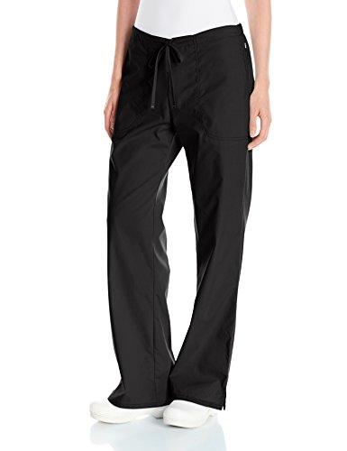 Code Happy Women's Bliss Mid-Rise Moderate Flare Drawstring Pant with Certainty, Black, XX-Large ()
