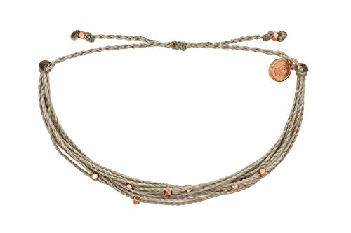 Pura Vida Rose Gold Malibu Grey Beaded Bracelet - Silver Plated Charm, Adjustable Band ()