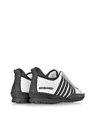 Dsquared2 Hombre S16SN131065M072 Blanco/Negro Cuero Zapatillas