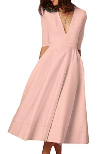 Collo Delle Profondo Tasche Cocktail Midi V Oscillazione Del Domple Da Donne Del Modo Vestito Rosa wwq0SHF