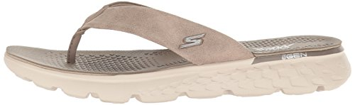 Flop The Smooth Skechers Taupe Essence ladies Leather Sandals 400 Womens Go On Flip vxwRHOwq