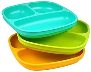 product image for Re-Play Divided Plates, Aqua, Green, Sunny Yellow, 3-Count