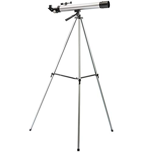 Refractor Telescope Tripod Stand Portable Refractory Travel Scope Interchangeable Eye Lenses 50mm Clear Aperture 600mm Focal Length H5 120x, H10 60x Eyepiece 4x18 Sight Glass Finder Scope (RTS)
