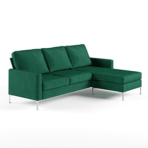 Novogratz Chapman Sectional Chrome Legs, Green Sofa (Sectional Emerald Green Sofa)