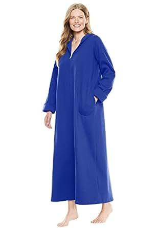 Dreams & Co. Women's Plus Size Hooded Fleece Robe - Blue Sapphire, M