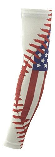 Nexxgen Sports Apparel Moisture Wicking Compression Arm Sleeve (Single) - Men, Women & Youth - 40 Colors - Digital Camo & Elite (Youth Large, American Flag/Baseball Stitches)