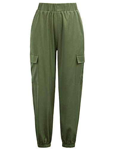 GRACE KARIN Women Cargo Pants Casual Outdoor Solid Baggy Jogger Workout Pants XL Army Green