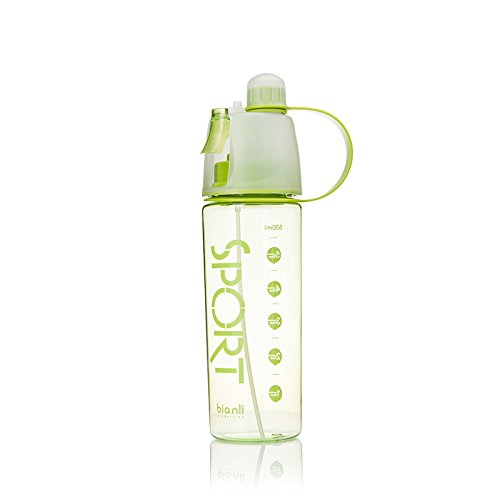 Bianli 21oz Green Plastic Sports Water Bottle, Spray Bottle, Multi-Function Cooling Bottle With Straw, Perfect for Camping Hiking Cycling,1-Click Open, Eco-Friendly, BPA-Free