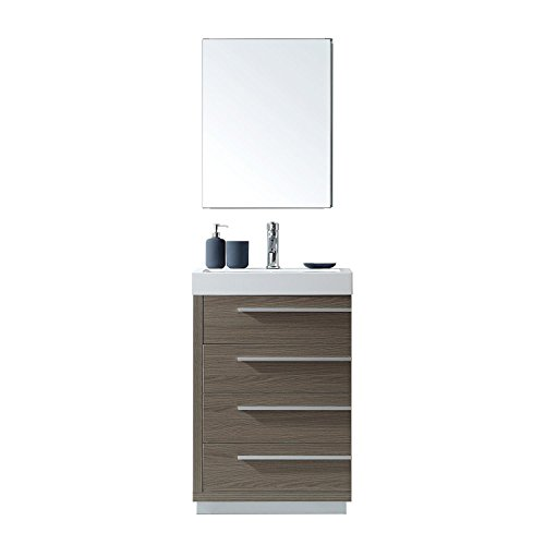 Virtu USA JS-50524-GO Bailey Single Bathroom Vanity with White Polymarble Top/Square Sink with Polished Chrome Faucet/Mirror, 24