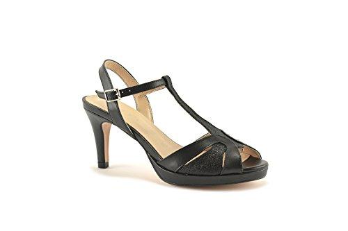 ConBuenPie by ENYA - New Collection - Sandalia de Piel metalizada de Mujer para Vestir & Fiesta Colores Negro, Plata y Platino Negro