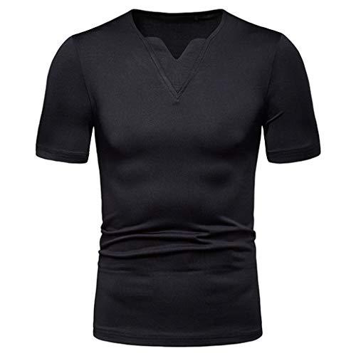 YAYUMI 2019 Men's Casual Pure Color Slim V-Neck Short Sleeve Sports Shirt Top Blouse Black ()